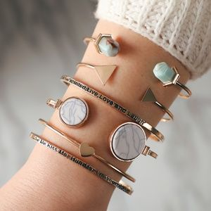 New! Women's Bohemian Trendy 6pc Bracelet Set